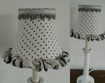 Cabbages and Roses Charcoal and Natural Linen Lampshade