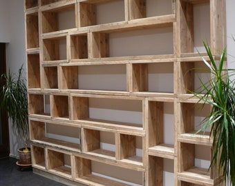 Timber Shelf Bookshelf Solid T 28 cm H 40 cm USED Look