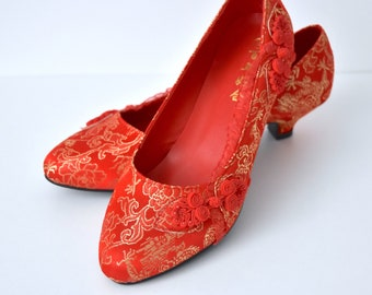0a376a103f2 Chinese Wedding Shoes - Lucy Red Lace + Button Traditional