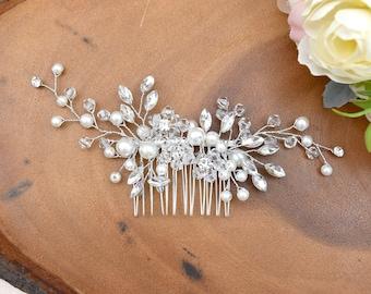 Bridal Silver Crystal Rhinestone Pearl + Jewel Droplet Wedding Hair Comb/Hair Accessory/Hair Pin - RACHEL