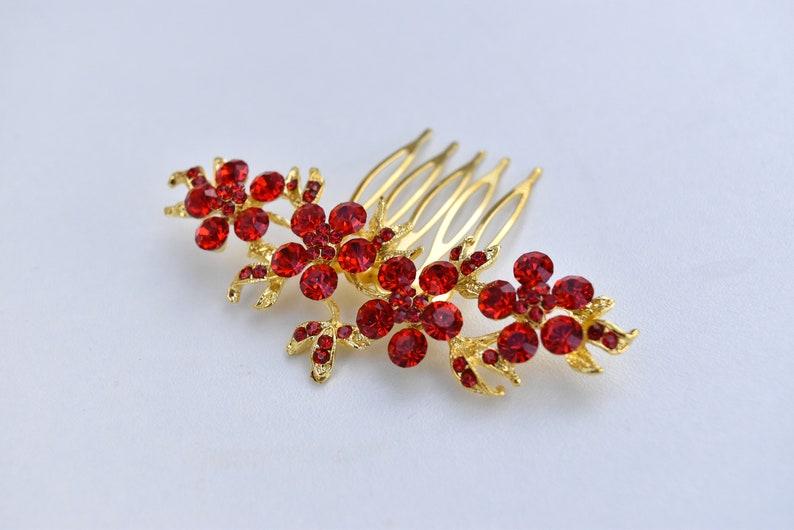 Small Red Gold PearlDiamante Flower Chinese Wedding Hair CombHair AccessoryHair Pin