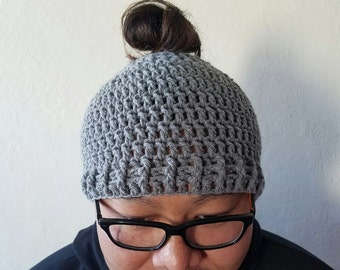 Crochet Man Bun Hat, Man Bun Hat, Messy Man Bun Hat, Pony Tail Hat, Pony Tail Beanie, Man Bun