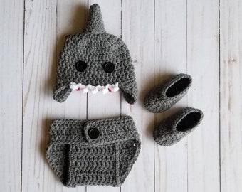 Crochet Shark Baby Set a51a46554080