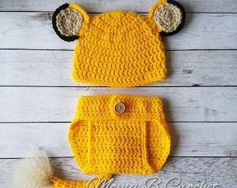 Crochet Lion Baby Set, Cub Baby Set, Lion Cub Baby Set,  Lion Baby Set, Simba Baby Set, Crochet Simba Baby Set, Simba Photo Prop