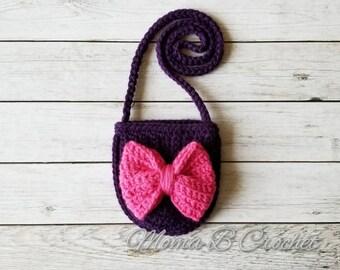 Crochet Boho Bag, Bitty Bow Bag, Bow Purse, Toddler Bow Purse, Bitty Boho Bag, Toddler Purse, Toddler Boho Bag, Toddler Messenger Bag