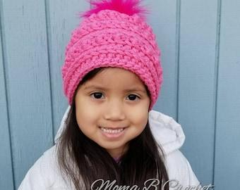 Crochet Bobble Hat, Poppy Inspired Hat, Poppy Bobble Hat, Crochet Winter Hat, Bobble Beanie, Toddler Bobble Hat, Child Bobble Hat
