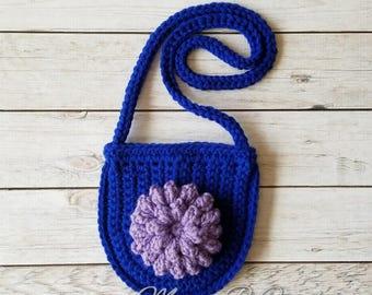 Crochet Boho Bag, Bitty Flower Bag, Flower Purse, Toddler Flower Purse, Toddler Purse, Toddler Boho Bag, Toddler Messenger Bag