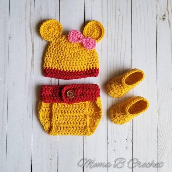 832437e995f2 Crochet Bear Baby Set Winnie the Pooh Winnie the Pooh Hat   Etsy