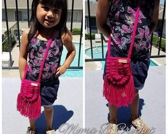 Crochet Boho Bag, Bitty Boho Bag, Toddler Purse, Toddler Boho Bag, Toddler Messenger Bag