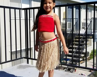Crochet Moana Costume, Moana Costume, Moana Outfit, Toddler Moana Costume, Child Moana Costume, Moana Birthday, Moana Party,Red Moana Outfit