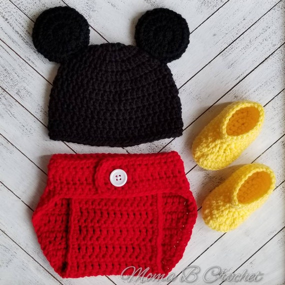 Crochet Mickey Mouse Baby Set, Mickey Mouse Hat, Mickey Mouse Baby Set,  Crochet Mickey Mouse Hat, Photo Prop Baby Set, Mickey Mouse Costume