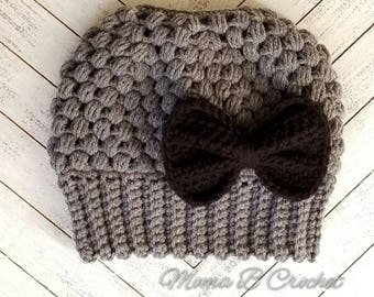 Crochet Messy Bun Hat with Bow, Adult/Teen Messy Bun Hat,  Messy Man Bun Hat, Pony Tail Hat, Detachable Bow, Claire Messy Bun Hat