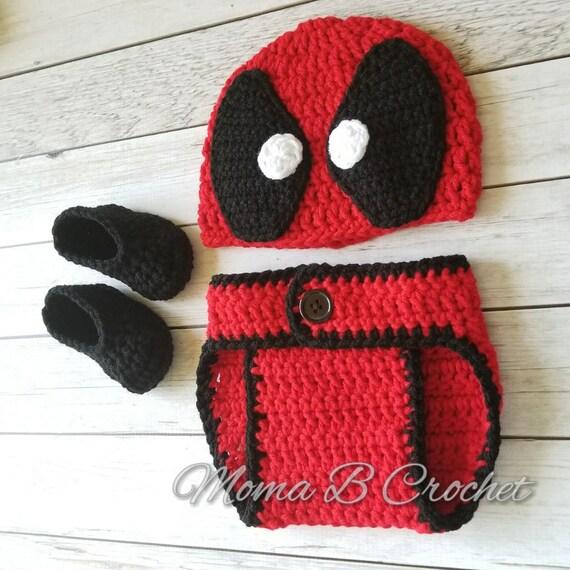 Crochet Deadpool Baby Set Deadpool Baby Set Deadpool Hat Etsy