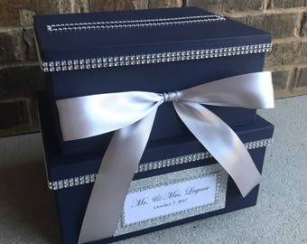 Navy Blue Card Box Centerpiece Mid Size Dark 2 Tier Shower Or Birthday Holder