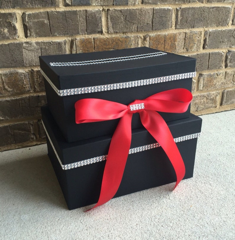 Black And Red Card Box 2 Tier Birthday Holder