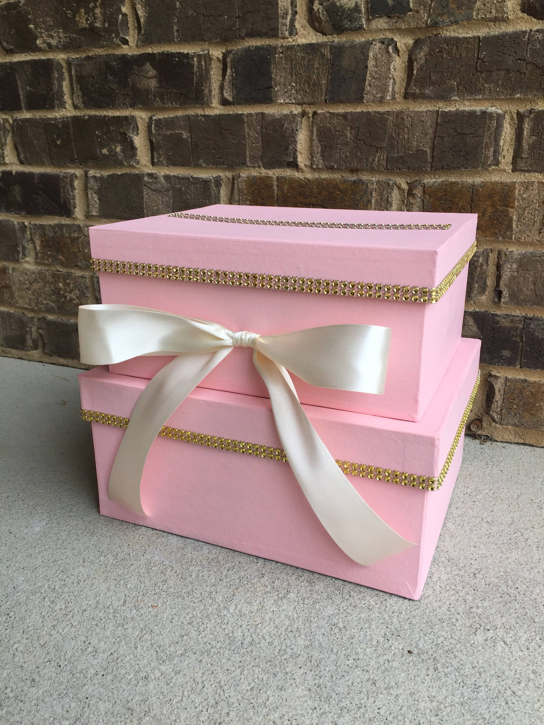 Blush Pink and Gold Card Box Centerpiece Mid-Size 2 Tier