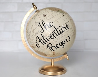 Gold and Neutral Wedding Guestbook Globe with Custom Lettering Calligraphy Guests Sign Globe Guestbook Alternative 8 Inch Diameter Travel