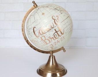 """Wedding Guest Globe, Signing Globe, Guestbook Globe, Signature Globe, Guest Book Alternative, Gold Globe, Wedding Globe, Custom Globe, 8"""""""