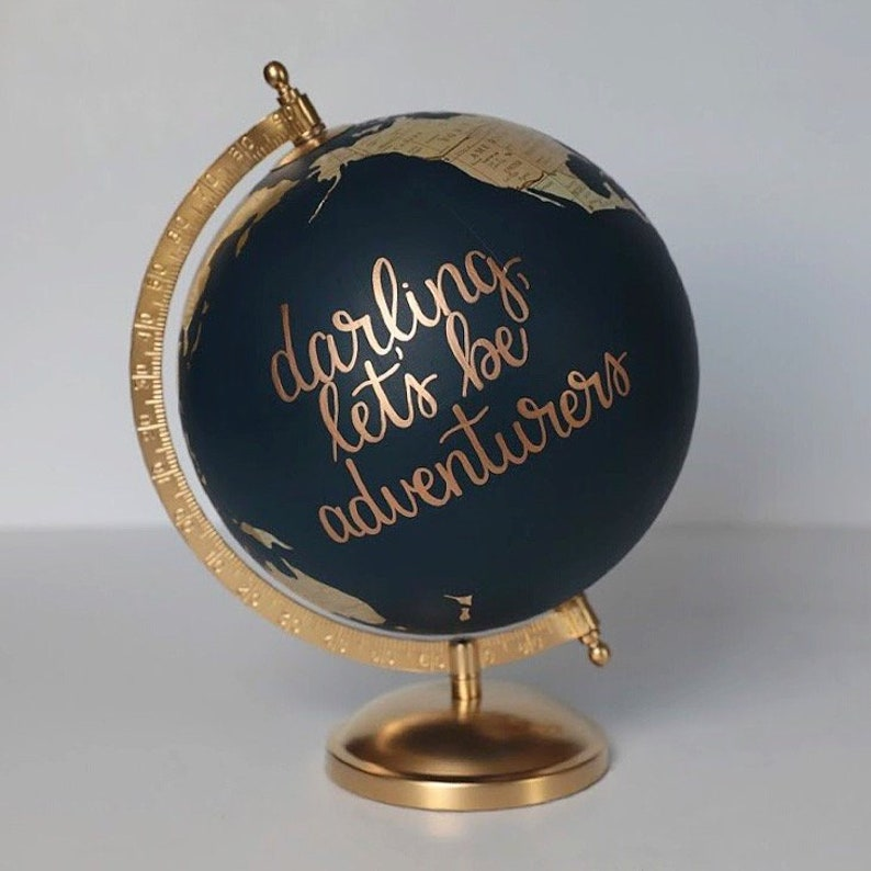 Gold and Neutral Globe  Custom Hand Painted Globe  image 0