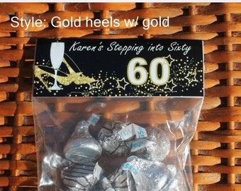 60th Birthday Favors Stepping Into 60 Party Tops Treat Bags Elegant Champagne Toast Sixty Qty 12