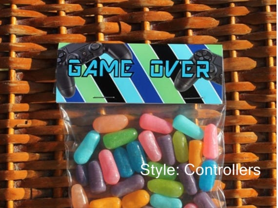 Game Over Treat Bags Gaming Party Tops Boy Birthday