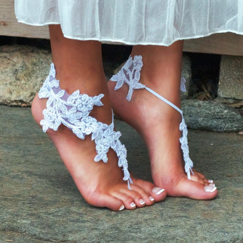 a21c1674cb9fe WHITE Barefoot Sandals ELSIE Bride Destination Wedding