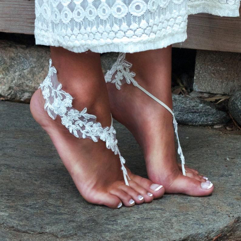 8bcf8fbb9c75c IVORY Lace Barefoot Sandals LAUREN Cream Lacy Footwear