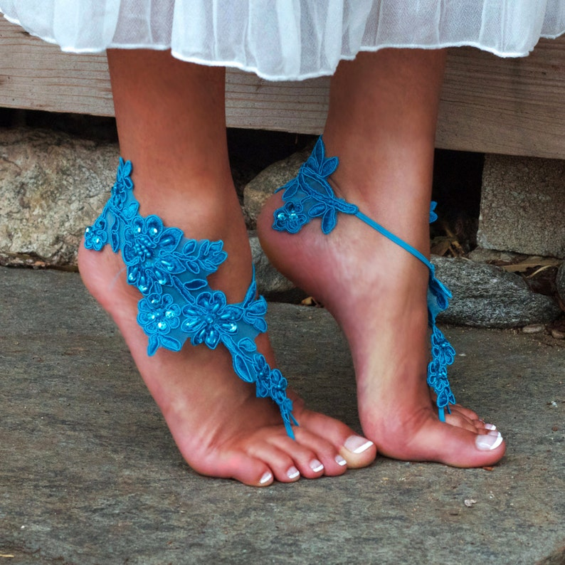 e4bcbca9ec305 SCUBA BLUE Barefeet Lace Sandals GWEN Destination Wedding