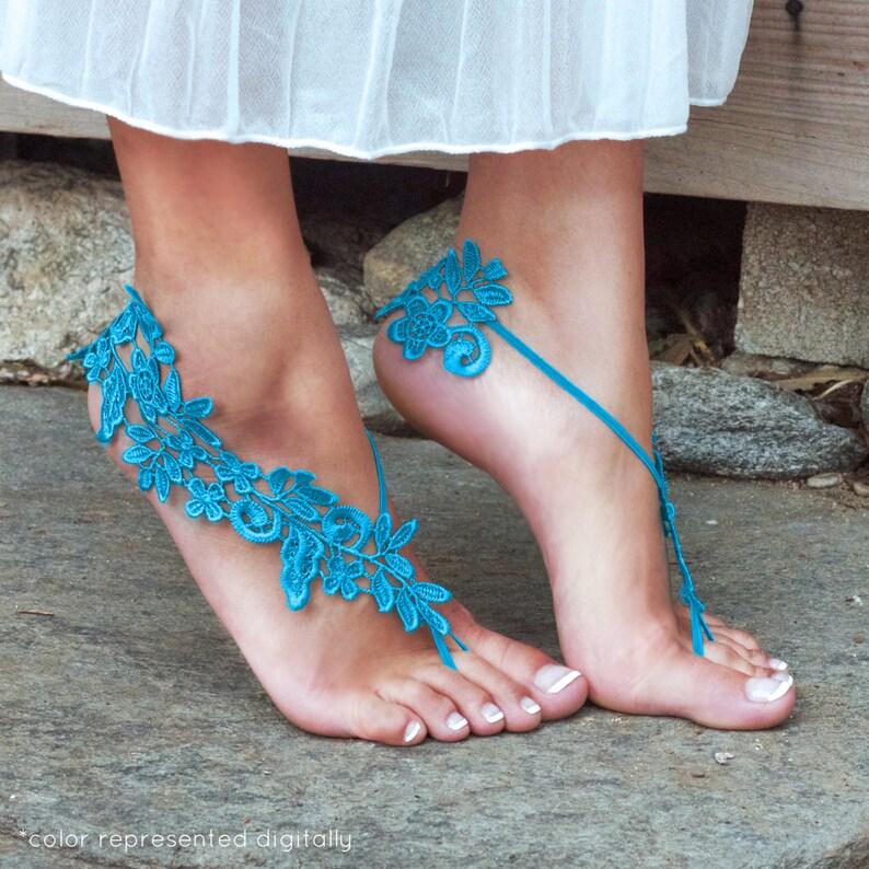 b77dc27f7e7a SKY BLUE Barefoot Sandals LYNSAY Bride Shoes Destination