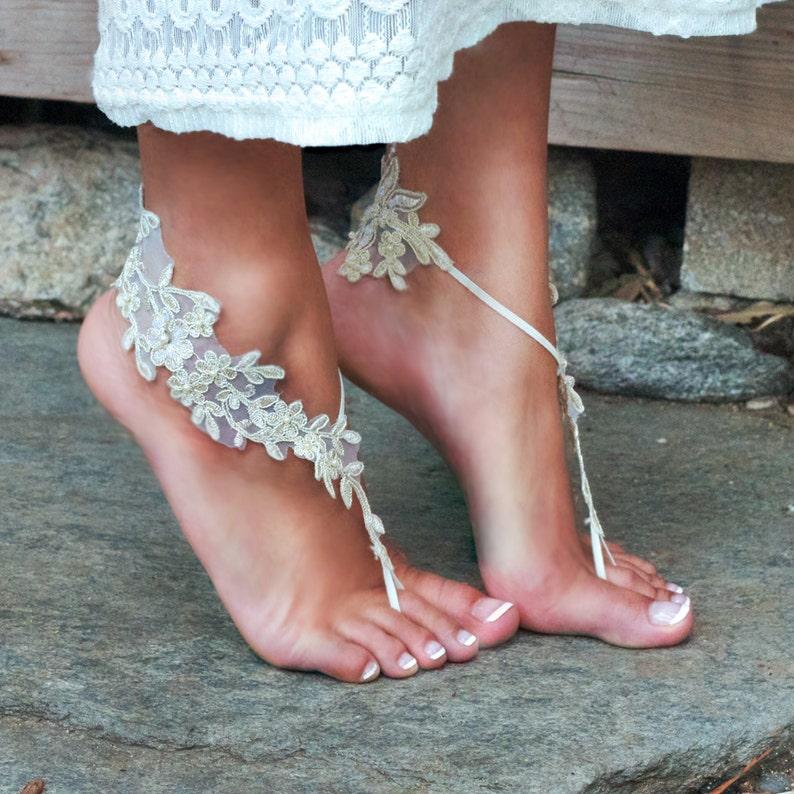 195a1e7bbce55 CHAMPAGNE Lacey Bare Foot Sandals LAUREN Elegant Wedding