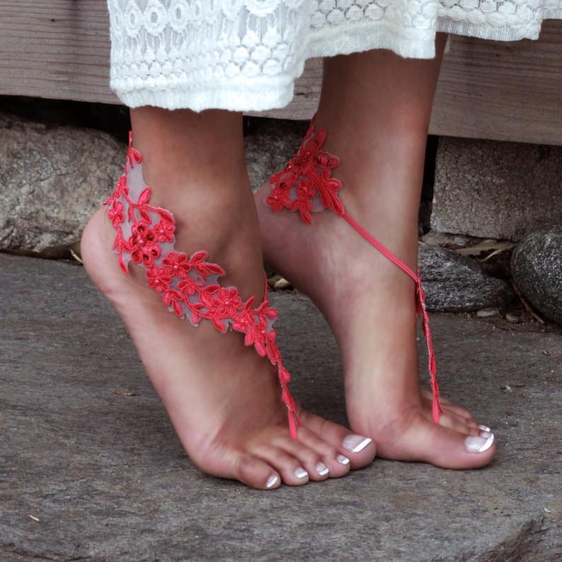 1c0cebfeb78d HOT CORAL Barefoot Lace Sandals LAUREN Tropical Wedding