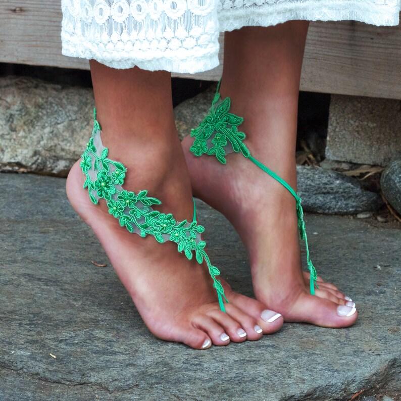 a8c486deb22db GREEN Bare Feet Lace Sandals LAUREN Irish Fairy Fairie