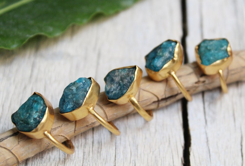 Solid Brass Ring Cocktail Ring 18k Gold Plated Ring Rough Apatite Ring Rough Raw Stone Ring Raw Apatite ring Natural Gemstone Ring
