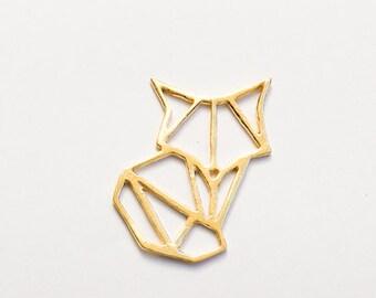Fox origami Geometric pendan or Earing 18K Gold plated - Geometric Gold plated Brass animal pendant , fox jewelry, Gift for her