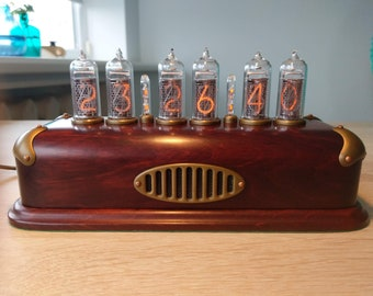 Pre-order for Glenace   Nixie Tube Clock on vintage IN-14 soviet nixie   Steampunk Clock   brass edges and grill   replaceable tubes