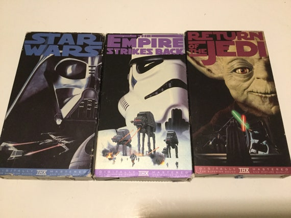 Vintage Star Wars Trilogy Vhs Tapes Movies Vcr 3 Pack Star Etsy