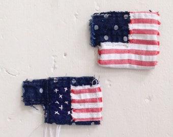 USA American Flag Fourth of July Boro Fabric Patchwork Brooch - Badge Pin - Sashiko Denim Wabi Sabi Textile Fibre Art  - Stars and Stripes
