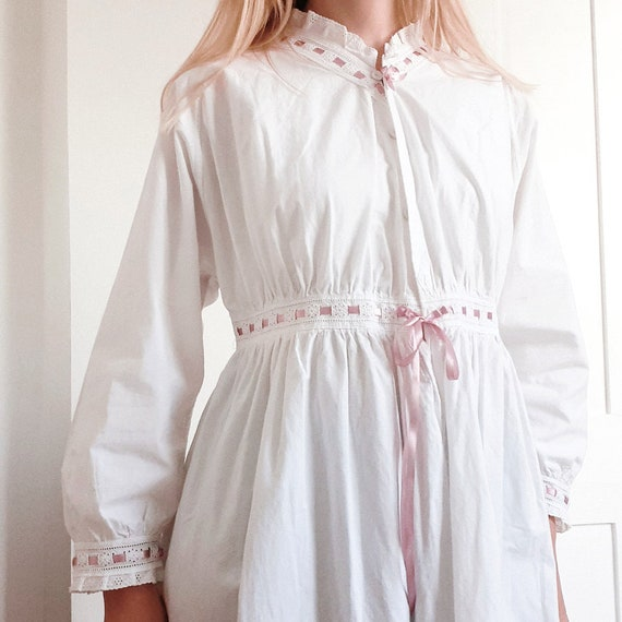 White Cotton Nightdress with Pink Ribbon