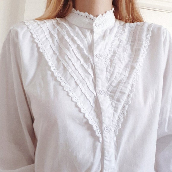 Frilly White Cotton Blouse