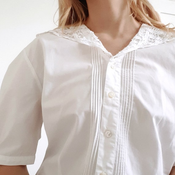 Laura Ashley White Puff Blouse