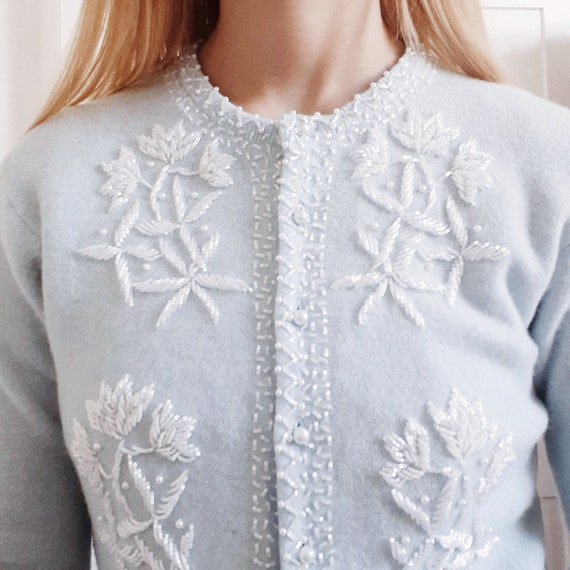 Light Blue Beaded Cardigan