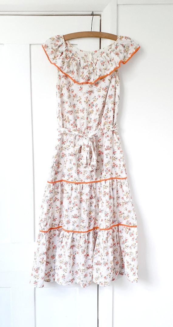 White Floral Prairie Dress . Small
