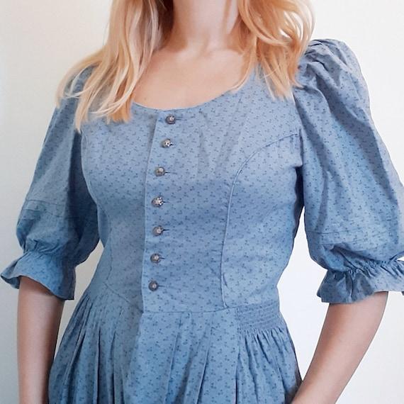 Blue Floral Austrian Dress