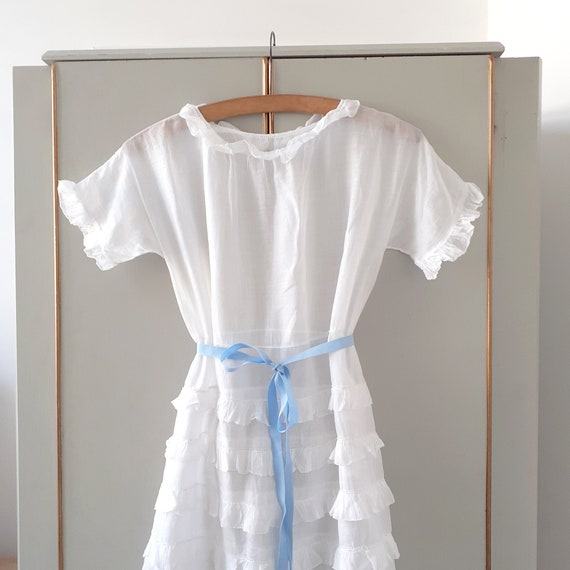 Antique White Cotton Frilly Dress / Blouse