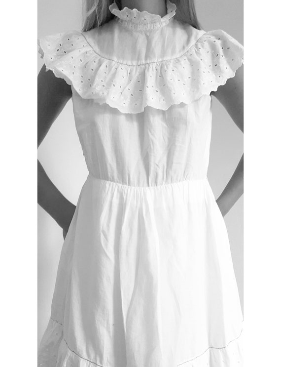 White Cotton Frilly Prairie Dress