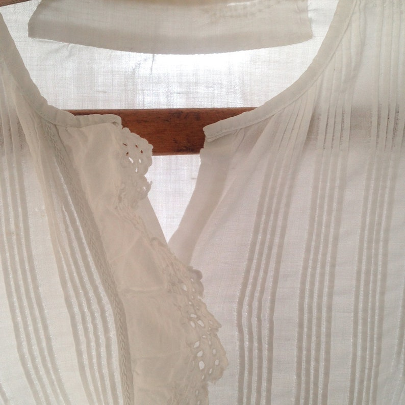 French Frilled Antique Blouse White Cotton Ruffle Shirt