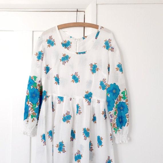 Blue Floral Prairie Dress . Large