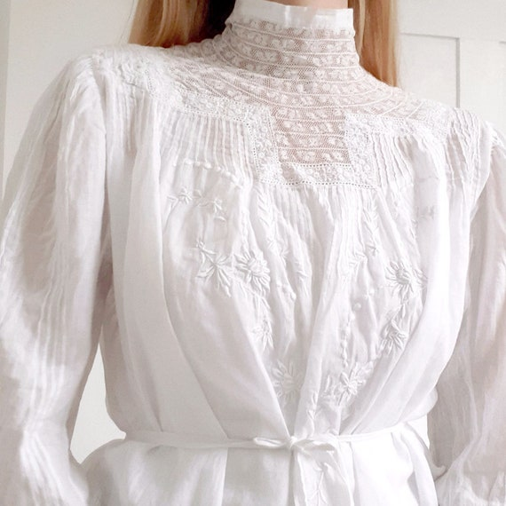 Antique White Blouse with High Neck
