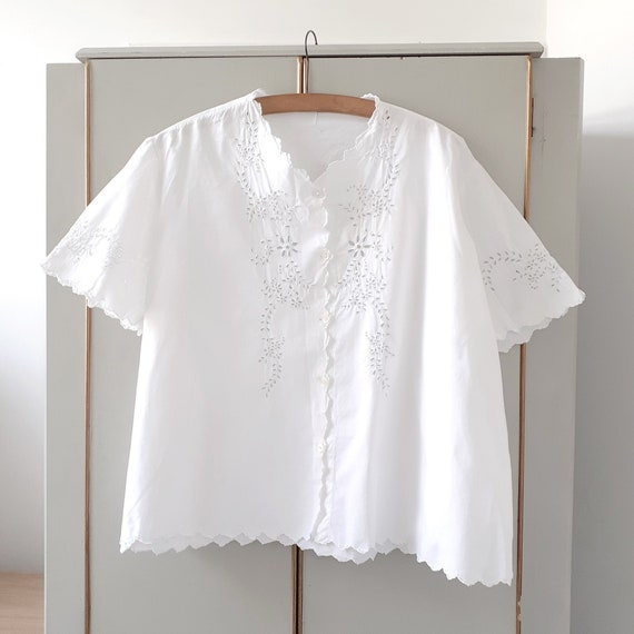 White Cotton Openwork Embroidered Blouse