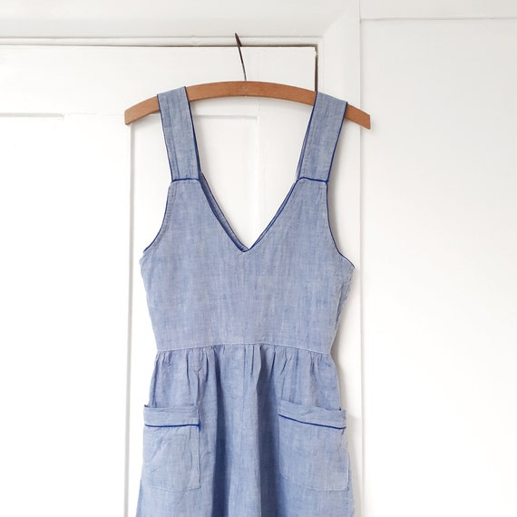 Chambray Pinafore Chore Dress . XXS